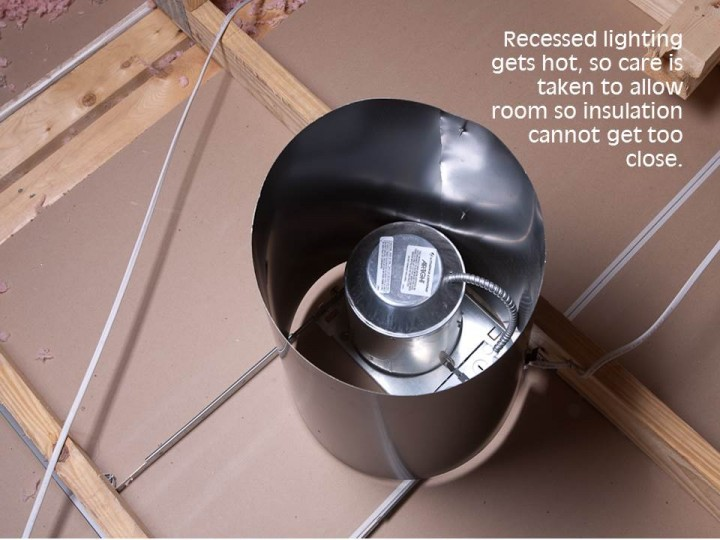Recessed lighting gets hot, so care is taken to allow room so insulation cannot get too close.