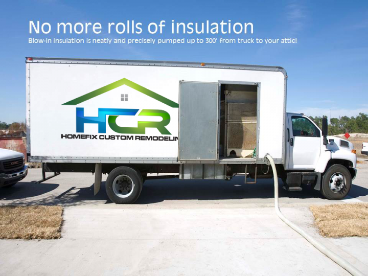 No more rolls of insulation. Blow in insulation is pumped from our truck to your attic!