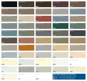 Trim Sheet Finishes and Color Key