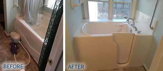 Before and after photos of walk-in bathtub installation