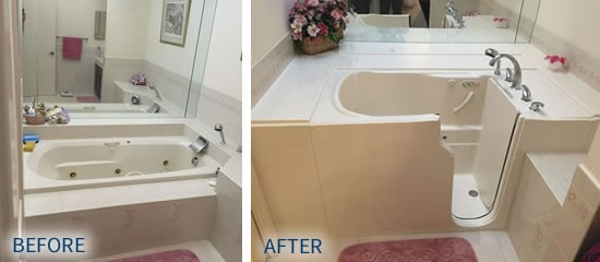 Before and after photos of walk-in tub