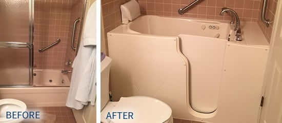 Befor and after photos of walk in tub