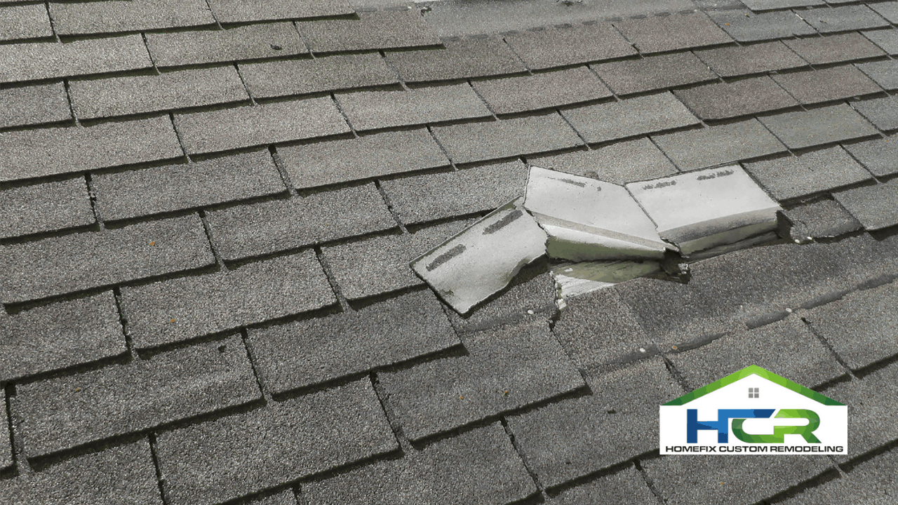 picture of damages shingles from a hail storm